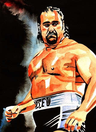 Rob Schamberger festménye Rusevről Forrás: http://robschamberger.com/gallery/rusev03a/